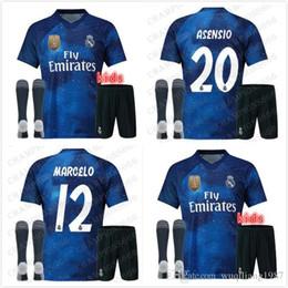 Venta al por mayor de kit infantil 19 20 EA Sports Real Madrid azul 2019 RAMOS ASENSIO MODRIC ISCO BALE Camisetas de fútbol 2020 Camisetas Maillot Juego de recuerdo Versión
