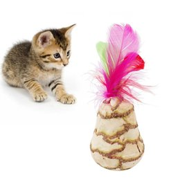 Rocking Toys Australia - Rocking Teaser Toy Kitten Wooden Scorpion With Feather Tumbler Cat Toy Tumbler Cat Natural Plant Interactive Feather
