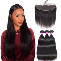 $enCountryForm.capitalKeyWord Australia - Straight Hair Bundles With Frontal Brazilian Remy Human Hair Weave Pre Plucked 13x4 Ear To Ear Lace Frontal Closure With Bundles