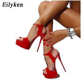 stiletto heels platform dress sandals 2019 - Eilyken New Design Buckle Strap Women Pumps Open Toe Stiletto Super High Heel Sandals Sexy Nightclub Platform Pumps size