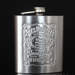 Flask Boxes Australia - 7oz Jug Stainless Steel Hip Flask Portable Outdoor Flagon Whisky Stoup Wine Pot Alcohol Bottles With Black Box