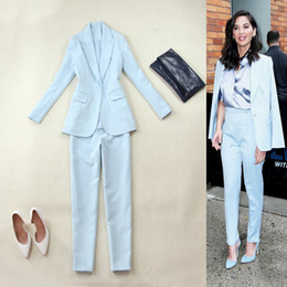 Footed Winter Suit Australia - Fashion large size women's autumn and winter new light blue Slim small suit small feet pants suit OL professional spring