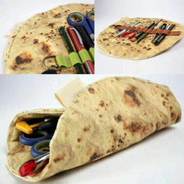 storage makeup brushes Australia - Cosmetic Makeup Brushes Storage Bags Imitation Pancake Pizza Stationery Rolled Collection Bag New Creative organizer packaging