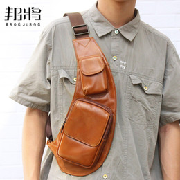 genuine leather chest bags 2019 - Genuine Leather Crossbody Bag Men Zipper Chest Bag Messenger Outdoor Pouch Shoulder Packet High Capacity Waist Packet di