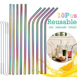 $enCountryForm.capitalKeyWord Australia - 7pcs Reusable Drinking Straw Metal Stainless Steel Straw With Cleaner Brush For Home Party Barware Bar Accessories