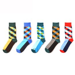 sock packs Australia - 2019 New 5-Pack Men Fashion Sock 09 Cotton Color Blocking Funny Sock Free Size (41-46) Wearproof Deodorize Breathability