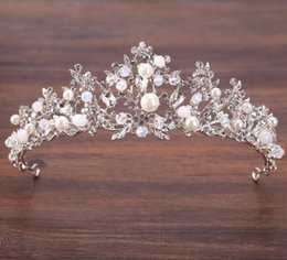 south indian bridal hair accessories UK - Crown bridal headdress silver handmade crystal beads crown hair ornament bridal princess crown wedding dress accessories