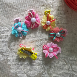 Dog Grooming Hair Clip Australia - 2019 Pet Dog Bow Cute Grooming Bows Bowknot For Puppy Dogs Accessories Knitted Pearl Flower Hair Clip Cute Pet Headwear 50pcs lot