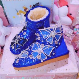 Wholesale Women Shoes Woman Boots Ankle Snow Boots Winter New Hand studded Crystal Butterfly Sequins Short Tube Flat Snow X121