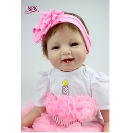 Baby Figures Australia - NPK 22' 55cm Silicone Baby Reborn Dolls With Cotton Body Dressed in Nice Sweater Lifelike Doll Reborn Babies Toys for Girls