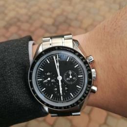 42mm Automatic Face preta dos homens de Aço Inoxidável Completa Lua relógio de Pulso Relógio Masculino de Velocidade Profissional venda por atacado