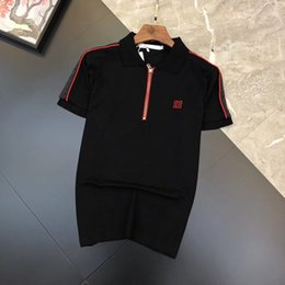 Polo Shirt Simple NZ - European and American fashion men's 2019 summer embroidery simple lapel T-shirt beaded cotton slim short-sleeved polo shirt