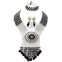 $enCountryForm.capitalKeyWord UK - Black and Clear AB Nigerian Wedding African Beads Jewelry Set Crystal Necklace Bracelet Earrings 6SDLS08