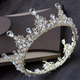 Crystal For Sales Australia - Hot Sale Round Royal Bridal Crowns Exquisite Transparent Crystals Wedding Tiaras Online Bling Bling Rinestiones Bridal Crowns For Wedding