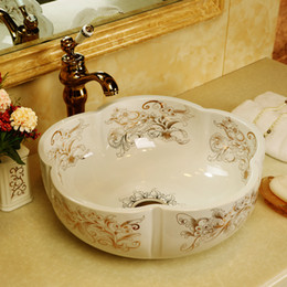 basin bowl sink Australia - Artistic Procelain wash basin bathroom sink bowl countertop Flower Shape Ceramic wash basin bathroom sink