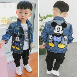 boys patched jeans Canada - Dulce Amor Children Denim Jacket Coat 2018 New Autumn Kids Fashion Patch Outerwear Baby Boy Girl Hole Jeans Coat Drop Shipping LY191224