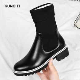 bdc1fd04123d5 ItalIan leather ankle boots online shopping - 2018 KUNCITI Round Toe Women  Rock Shoes Italian Design