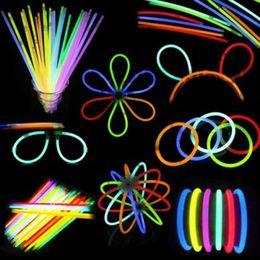 Glow Decor Australia - 10 Pcs Set Mix Color Glow Stick Safe Light Stick Necklace Bracelets Fluorescent for Event Festive Party Supplies Concert Decor