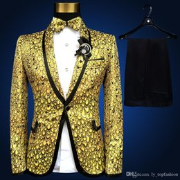 men s long wedding suit Australia - 2018 brand new gold sequined Mens Wedding Suits jacket Plus Size fashion slim paillette formal party prom Men Suit Blazers S-4XL