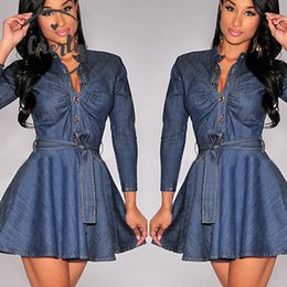 long sleeve maxi dresses Australia - T Belt Long Sleeve Dresses Fashion Slim Women Fit Blue Denim Jean Dress Plus Size Drop Shipping
