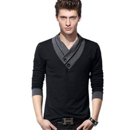 Slim Fit Black T Shirts Australia - Mens T Shirts Fashion 2019 New Spring Long Sleeve T Shirts Men Black Button Stand Collar Fitness Slim Fit Tshirt Plus Size 5xl