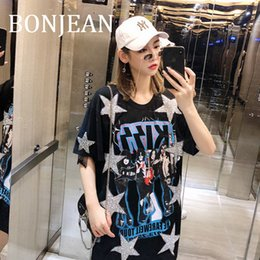 Summer Shirt Patterns Australia - BONJEAN Letters Print Shirt for Women 2019 Summer Tops and Tees Star Pattern Shirt with Sequin Short Sleeve Black T BJ1219
