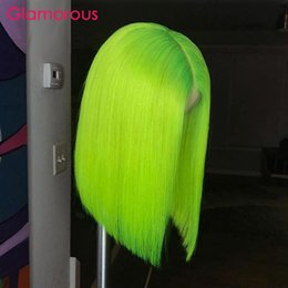 Green Color Lace Wig Australia - Pre-Colored Short Human Hair Bob Wigs Lace Front Brazilian Remy Hair Straight Neon Green Color Summer Popular Human Hair Wig