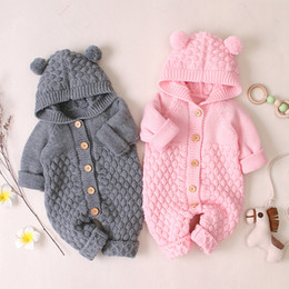 Wholesale rompers grey for sale – dress Baby knit Rompers Cartoon Bear Knitted autumn Newborn Boys Jumpsuits Clothes winter Long Sleeve Toddler Sweater Children Overall