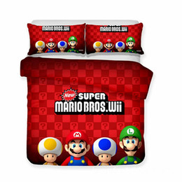 $enCountryForm.capitalKeyWord Australia - Thumbedding Kids Bedding Sets Super Mario Dark Red Duvet Cover Set 3D Queen King Twin Full High Quality Bed Set and Pillowcase