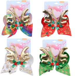 jojo siwa bows Australia - 6.7 inch jojo siwa Hair Bows 4 colors 8inch Children's Big Bow Christmas staghorn bow hair pins warped with drill girl Bow Hairpin