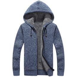Thick Sweater Jacket Warm Australia - 2018 Men's Sweaters Winter Super Warm Cashmere Wool Zipper Hoody Sweaters Man Casual Knitwear Thickening Cardigan Jackets