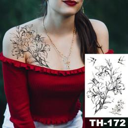 $enCountryForm.capitalKeyWord Australia - Waterproof Temporary Tattoo Sticker Sketch Lily Flower Pattern Tatoo Water Transfer Swallow Body Art Fake Arm Tattoo For Women