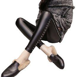 Women Warm Winter Thick Trousers Australia - Velvet Pants Women Thick Pu Leather Rivet Pants High Waist Warm Winter Sexy Slim Plus Size Pencil Trousers Pantalon Femme Q190510