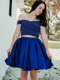 $enCountryForm.capitalKeyWord NZ - Royal Blue Short 2 Pieces Prom Dress 2019 Off shoulder With Sleeves Crystal Bling Beaded A line Satin Homecoming Cocktail Party Dress Gown