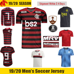 19 20 Flamengo Camisas de Futebol B.HENRIQUE 2018 2019 E.RIBEIRO GABRIEL B. Camisa de Futebol DE ARRASCAETA VITINHO Flamengo Feminina DIEGO Longa Camisa de Futebol em Promoção