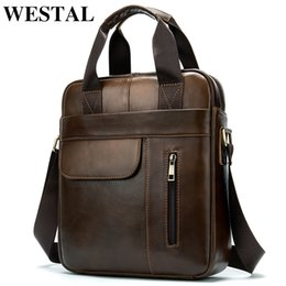 Vertical messenger shoulder bag online shopping - WESTAL men s shoulder bags genuine leather vertical document handbag messenger bag men s laptop tote crossbody bag for