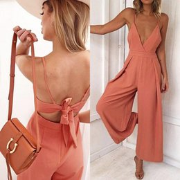 deep v neck jumpsuit backless romper 2020 - Wide Leg Bow strap Maxi Jumpsuit Women sexy deep V Neck Backless Bodycon Playsuit trousers Elegant High Waist Long Rompe