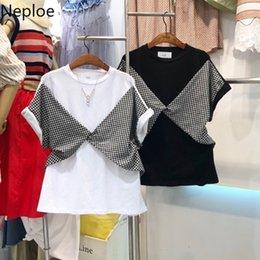 $enCountryForm.capitalKeyWord Australia - Neploe Plaid Patchwork Korean T Shirts Summer Short Sleeve O-neck T-shirt 2019 New White Black Causal Tops Femme Tees 52935
