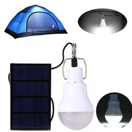 Chinese  Solar Powered Led Light Bulb Portable Led Solar Lamp Spotlight With Solar Panel for Outdoor Hiking Camping Tent Fishing Lighting manufacturers