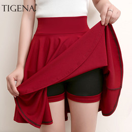 8d879a08b3 Tigena Plus Size Mini Shorts Skirts Women 2019 Casual A-line High Waist  Pleated Skirt Female School Girl Skater Skirt Black Blue Y19060501