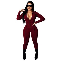 bodycon jumpsuits for women UK - Sexy Women Sports Jumpsuit Overalls For Women Patches Zip V Neck Long Sleeve Bodysuit Bodycon Workout Suit Jumpsuit Female 2018