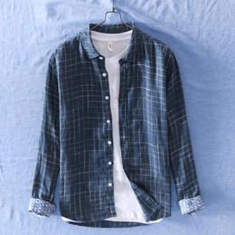 $enCountryForm.capitalKeyWord Australia - 2019 men's literaly style long sleeve plaid shirts with design cuff 100% linen causal shirt men white blue summer shirt for male