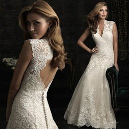 Wholesale 2019 new shoulder sexy V neck lace bride white wedding dress high quality fishtail bride wedding dress more styles please enter the store