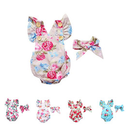 $enCountryForm.capitalKeyWord Australia - Baby romper 5 styles Baby girl boy romper suits kids ins flower flying sleeve triangle rompers+hair band 2pcs set baby clothing DHL FJ74