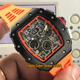 Luxury Automatic Watch Orange NZ - RM 11-03RG Big Date 43mm Flyback Chrono Skeleton Dial Miyota Automatic RM11-03 Mens Watch Black Steel Case Orange Rubber Strap Sport Watches
