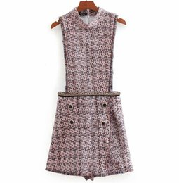 9395ffa57d 2019 Summer Buttons Fringe Tassels Rompers Fashion Female Tweed Plaid  Jumpsuits Casual Sleeveless Playsuits