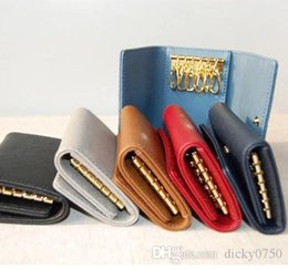 key chain purse Australia - Wholesale designer key purse for men multicolor leather designer short wallet six key holder for women classic zipper pocket key chain