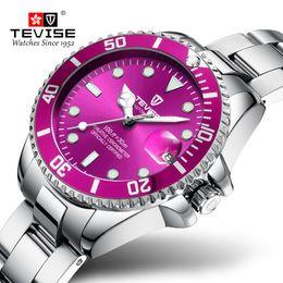 Water Resistant Wrist Watch Australia - Quartz Watch Women TEVISE T801 Women Watch Stainless Steel Date Luminous Hands Water Resistant Girls Wrist Watches For Women