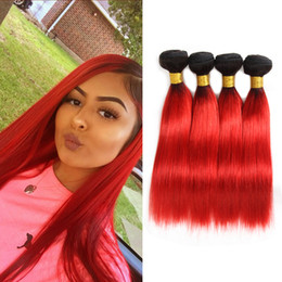 black red ombre hair weave 2019 - Dressmaker Indian Ombre Straight Hair 4 Bundles Black to Hot Red Human Hair Weave Bundles Human Hair Extensions cheap bl