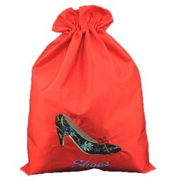 flat fabric shoes wholesale UK - Large Embroidered High heels Fabric Shoe Storage Bag Portable Travel Pouch Chinese Silk Drawstring Reusable Dust Bag for Shoes